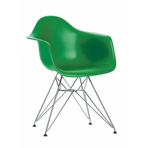 Vitra Stuhl Eames Plastic Armchair DAR grün, Gestell: verchromt, Designer Charles & Ray Eames