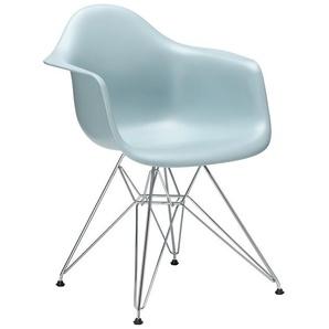 Vitra Stuhl Eames Plastic Armchair DAR 83x63x59 cm grau, Gestell: verchromt, Designer Charles & Ray Eames