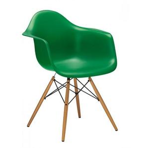Vitra Stuhl Eames Plastic Armchair DAW 83x63x59 cm grün, Gestell: Ahorn, Designer Charles & Ray Eames