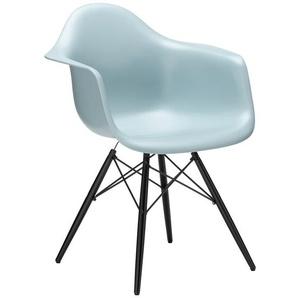 Vitra Stuhl Eames Plastic Armchair DAW schwarz, Gestell: Ahorn schwarz, Designer Charles & Ray Eames