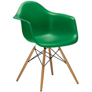 Vitra Stuhl Eames Plastic Armchair DAW grün, Gestell: Ahorn, Designer Charles & Ray Eames