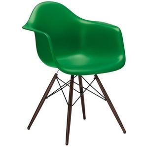 Vitra Stuhl Eames Plastic Armchair DAW grün, Gestell: Ahorn nussbaumfarbig, Designer Charles & Ray Eames