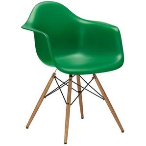 Vitra Stuhl Eames Plastic Armchair DAW 83x63x59 cm grün, Gestell:  eichefarbig, Designer Charles & Ray Eames