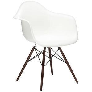 Vitra Stuhl Eames Plastic Armchair DAW 83x63x59 cm weiß, Gestell: Ahorn nussbaumfarbig, Designer Charles & Ray Eames