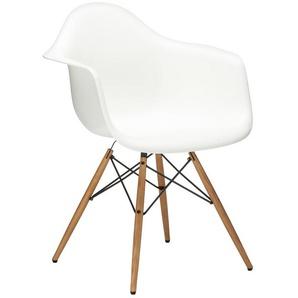 Vitra Stuhl Eames Plastic Armchair DAW 83x63x59 cm weiß, Gestell:  eichefarbig, Designer Charles & Ray Eames