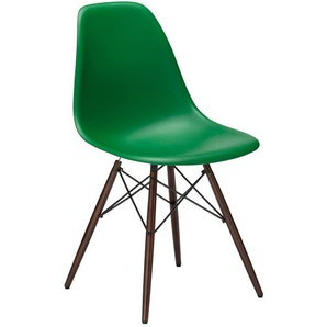Vitra Stuhl Eames Plastic Side Chair DSW 83x46.5x55 cm grün, Gestell: Ahorn nussbaumfarbig, Designer Charles & Ray Eames