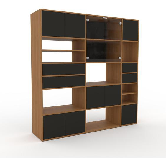 Vitrine Anthrazit - Moderne Glasvitrine: Schubladen in Anthrazit & Türen in Anthrazit - Hochwertige Materialien - 190 x 195 x 47 cm, konfigurierbar