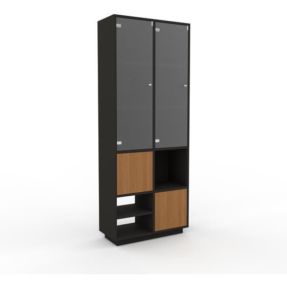 Vitrine Anthrazit - Moderne Glasvitrine: Türen in Eiche - Hochwertige Materialien - 79 x 200 x 35 cm, Selbst zusammenstellen