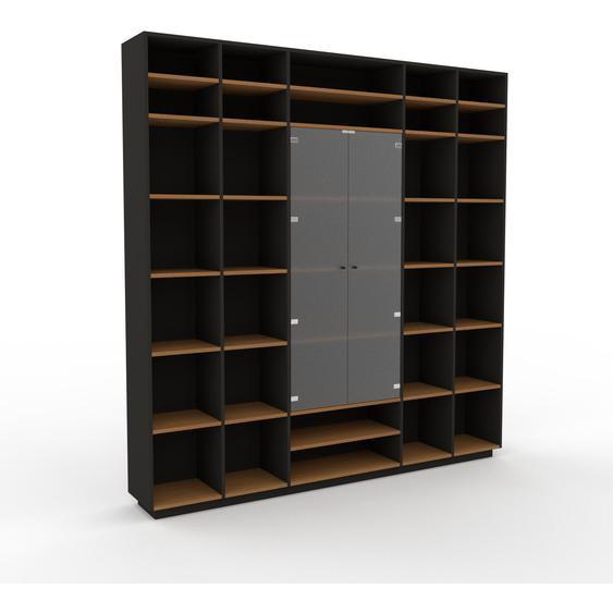 Vitrine Anthrazit - Moderne Glasvitrine: Türen in Kristallglas satiniert - Hochwertige Materialien - 231 x 239 x 35 cm, Selbst zusammenstellen