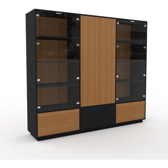 Vitrine Eiche - Moderne Glasvitrine: Schubladen in Eiche & Türen in Kristallglas klar - Hochwertige Materialien - 226 x 200 x 47 cm, konfigurierbar