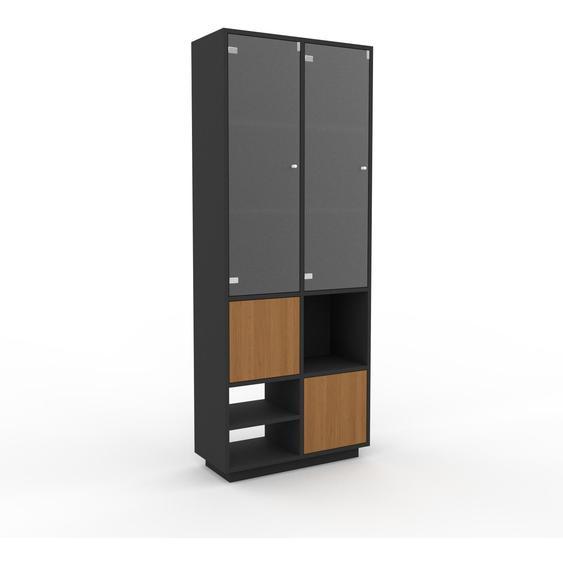 Vitrine Graphitgrau - Moderne Glasvitrine: Türen in Eiche - Hochwertige Materialien - 79 x 200 x 35 cm, Selbst zusammenstellen