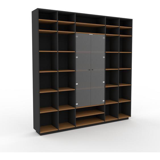 Vitrine Graphitgrau - Moderne Glasvitrine: Türen in Kristallglas satiniert - Hochwertige Materialien - 231 x 239 x 35 cm, Selbst zusammenstellen