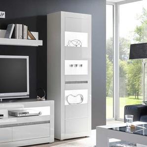 Vitrine in Hochglanz Weiß und Beton Grau modern