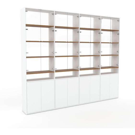 Vitrine Kristallglas klar - Moderne Glasvitrine: Türen in Weiß - Hochwertige Materialien - 301 x 253 x 35 cm, Selbst zusammenstellen