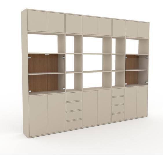 Vitrine Nebelgrün - Moderne Glasvitrine: Schubladen in Nebelgrün & Türen in Nebelgrün - Hochwertige Materialien - 303 x 233 x 35 cm, konfigurierbar