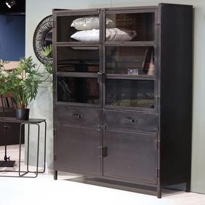 Vitrine Nick Industrial Design Metall 4 Türen