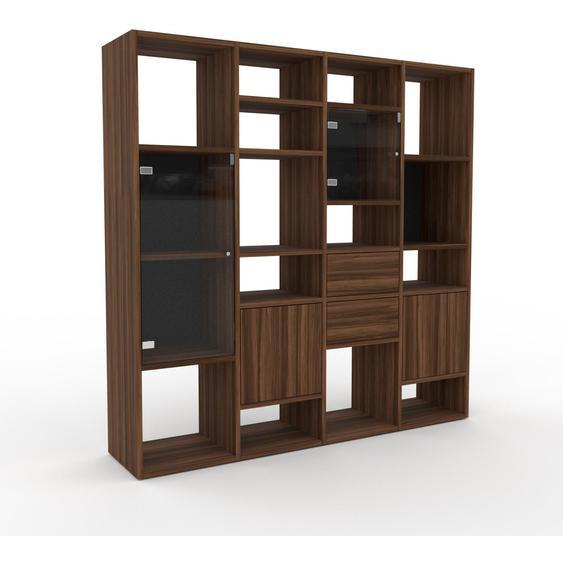 Vitrine Nussbaum - Moderne Glasvitrine: Schubladen in Nussbaum & Türen in Kristallglas klar - Hochwertige Materialien - 156 x 157 x 35 cm, konfigurierbar