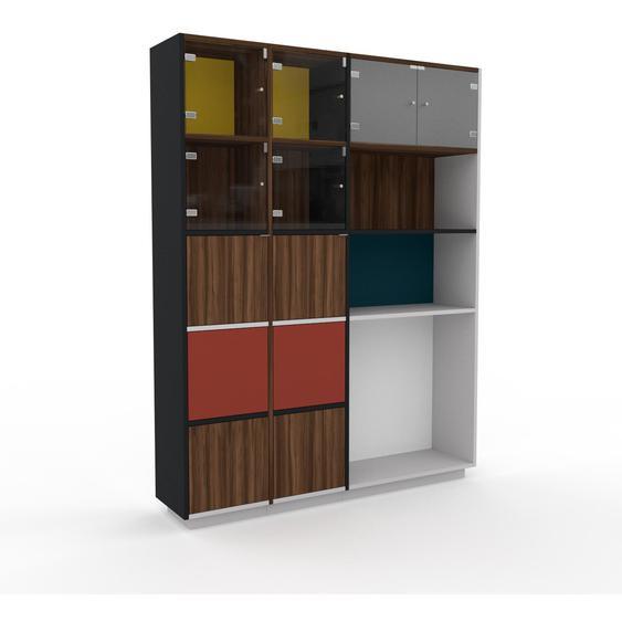 Vitrine Nussbaum - Moderne Glasvitrine: Türen in Nussbaum - Hochwertige Materialien - 154 x 200 x 35 cm, Selbst zusammenstellen