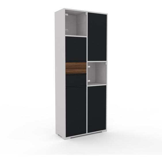 Vitrine Schwarz - Moderne Glasvitrine: Schubladen in Nussbaum & Türen in Schwarz - Hochwertige Materialien - 79 x 196 x 35 cm, konfigurierbar