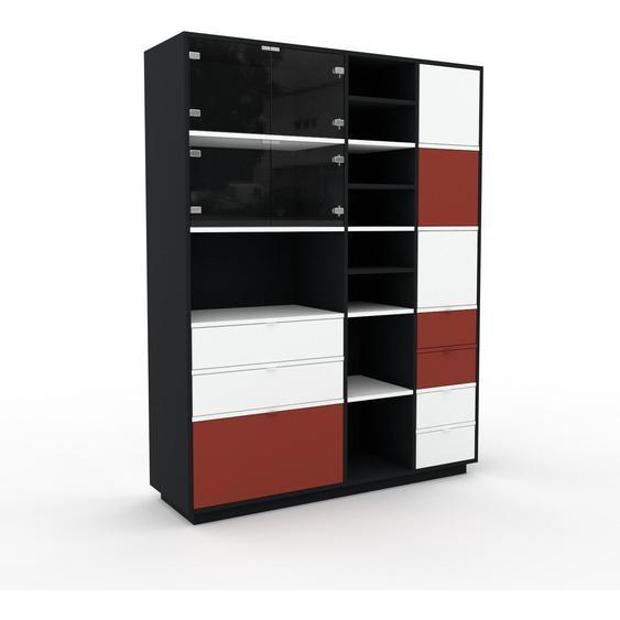 Vitrine Schwarz - Moderne Glasvitrine: Schubladen in Weiß & Türen in Kristallglas klar - Hochwertige Materialien - 154 x 200 x 47 cm, konfigurierbar