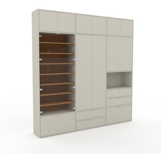 Vitrine Taupe - Moderne Glasvitrine: Schubladen in Taupe & Türen in Taupe - Hochwertige Materialien - 226 x 233 x 35 cm, konfigurierbar