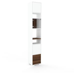 Vitrine Weiß - Moderne Glasvitrine: Schubladen in Nussbaum & Türen in Weiß - Hochwertige Materialien - 41 x 235 x 35 cm, konfigurierbar