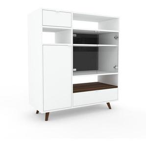 Vitrine Weiß - Moderne Glasvitrine: Schubladen in Weiß & Türen in Kristallglas klar - Hochwertige Materialien - 116 x 130 x 47 cm, konfigurierbar