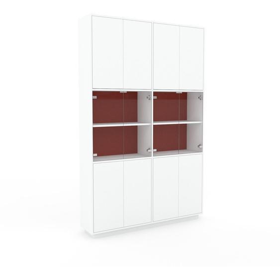 Vitrine Weiß - Moderne Glasvitrine: Türen in Weiß - Hochwertige Materialien - 152 x 239 x 35 cm, Selbst zusammenstellen