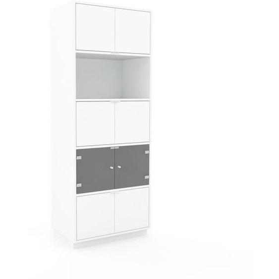 Vitrine Weiß - Moderne Glasvitrine: Türen in Weiß - Hochwertige Materialien - 77 x 200 x 47 cm, Selbst zusammenstellen