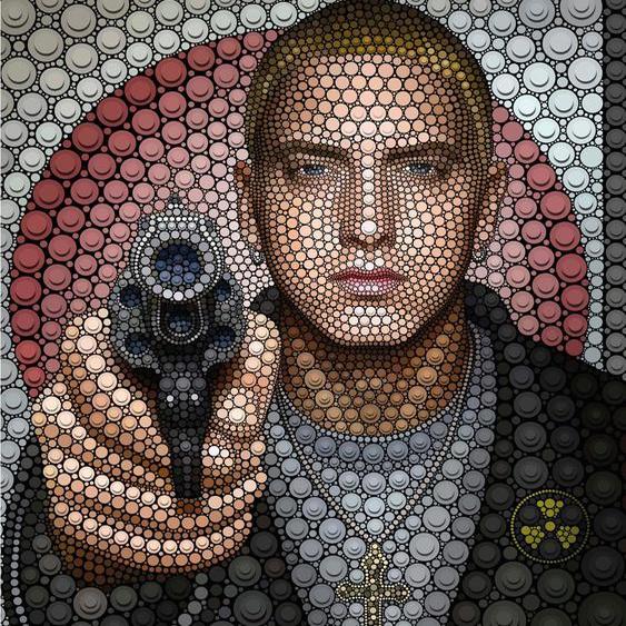 Wall-Art Vliestapete Ben Heine Circlism: Eminem Maße (B/H): 288/350 cm bunt Fototapeten Tapeten Bauen Renovieren
