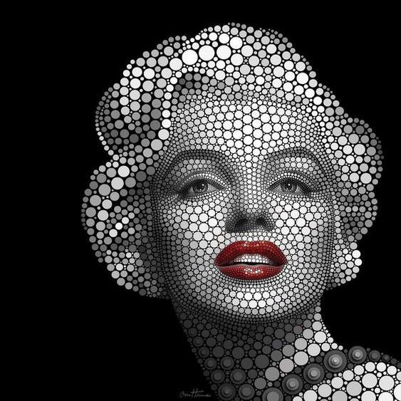 Vliestapete »Ben Heine Circlism: Marilyn Monroe«, schwarz, 2,88 m x 3 m