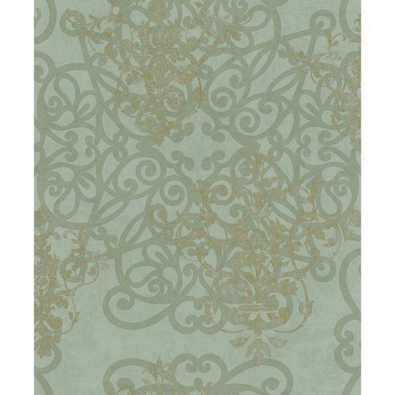 Vliestapete Catania Ornamente und florales Damastmotiv Grün-Pearl