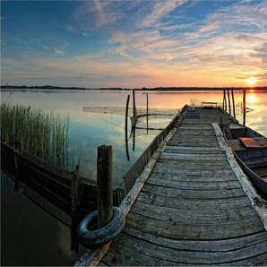 Vliestapete »Sunset at the lake«, , bunt