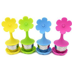VLUNT Silikon Teeei 4 Stück Set, Blumen Design Teesieb Teefilter, Blau, Grün,Gelb und Rose