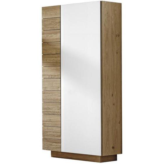 Voglauer Garderobenschrank Wildeiche massiv Braun , Holzwerkstoff , 7 Fächer , 96x202x42.5 cm