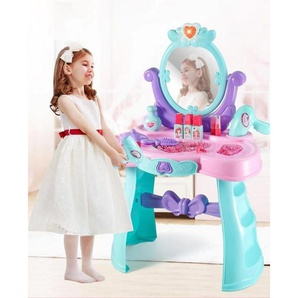 vokarala Kindertisch, Kinderschminktisch Kommode Frisiertisch mit Hocker Musik Licht Kosmetik Spiegel, Spielzeug Geschenk für Mädchen