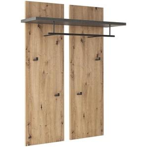 Voleo Garderobenpaneel , Anthrazit, Eiche , Metall , 88x118x28 cm , Aufhängemöglichkeit , Garderobe, Garderobenpaneele