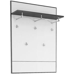 Voleo Garderobenpaneel , Weiß, Eiche , Glas , 80.8x108.4x23 cm , Aufhängemöglichkeit, Hutablage, Kleiderstange , Garderobe, Garderobenpaneele