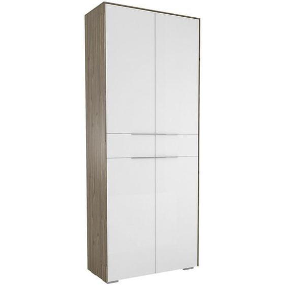 Voleo Garderobenschrank Weiß, Braun , Holzwerkstoff , 7 Fächer , 80.8x199.1x37.3 cm