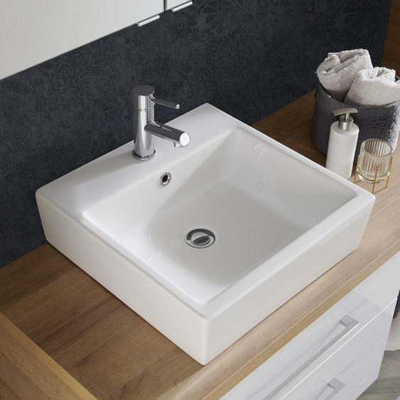 Voleo Waschbecken , Weiß , Keramik , 48x14x47 cm , Ab- und Überlaufgarnitur , Badezimmer, Waschbecken & Armaturen, Waschbecken