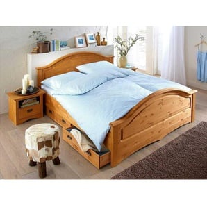 Vollholzbett aus Kiefer Massivholz Landhaus Design (dreiteilig)