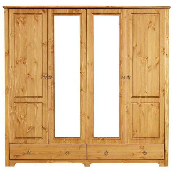 Vollholzschrank aus Kiefer Massivholz Spiegeltüren