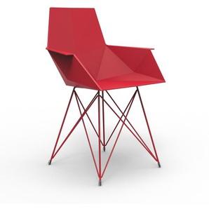 Vondom - FAZ Armlehnenstuhl Stahlgestell - rot - outdoor