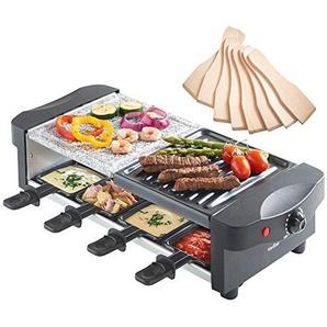 VonShef Raclette mit Naturstein und Grillplatte - flexibler Temperaturregelung, 8 Pfännchen & 8 Racletteschiebern