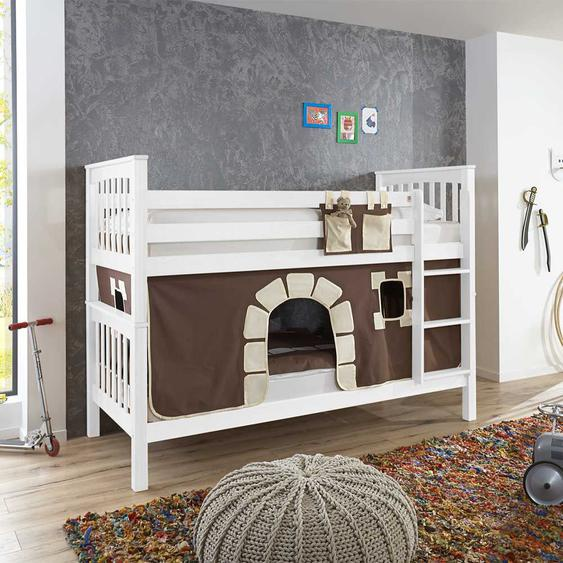 Vorhang Etagenbett aus Buche Massivholz weiß Vorhang im Burg Design