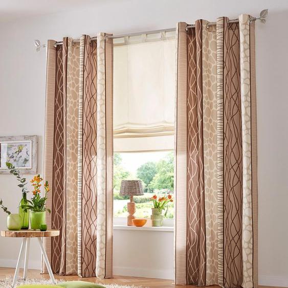 my home Vorhang Gosen, Gardine, Fertiggardine, blickdicht 145 cm, Ösen, 140 cm beige Wohnzimmergardinen Gardinen nach Räumen Vorhänge