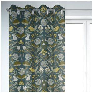Vorhang »SCHÖNER LEBEN. Vorhang STUDIO G Blumen Hase petrol 245cm oder Wunschlänge«, SCHÖNER LEBEN., Ösen (1 Stück), handmade, made in Germany