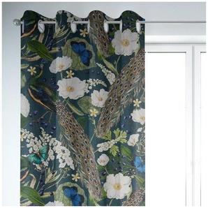 Vorhang »SCHÖNER LEBEN. Vorhang Velvet Deluxe Samt Pfau Blüten petrol 245cm oder Wunschlänge«, SCHÖNER LEBEN., Ösen (1 Stück), handmade, made in Germany