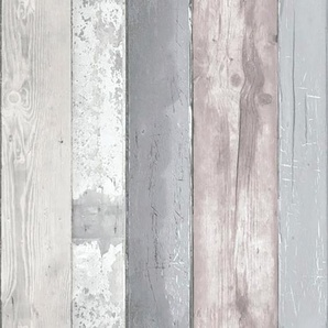 vtwonen Vliestapete Holzbohlen, Holz, Grau - 10m x 52cm B/L: 0,52 m 10 m, 1 St. grau Vliestapeten Tapeten Bauen Renovieren
