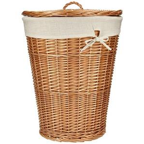 Wäschekorb mit Deckel ¦ braun ¦ Leinen, Weide ¦ Maße (cm): H: 52 Ø: 44 Aufbewahrung  Wäscheaufbewahrung - Höffner